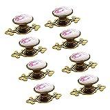 Ebeta 10 x Maniglie e pomelli cassetti Manopola per mobili Manopola Armadio Manopole Manopole per porte Manopola per mobile, ceramica (bronzo-tulipano)