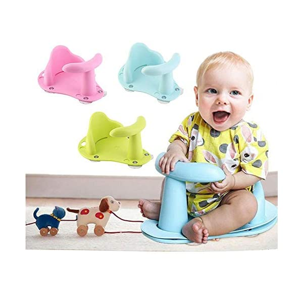 TEEPAO Baby Bathtub Seat With Suction Cups Baby Bath Chair For Tub For Sitting Up - Anti Slip Safety Ring Seat For Infant Child Kids Green