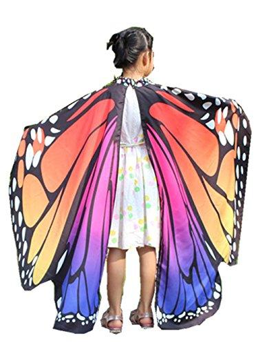 Malloom® Frauen Schmetterling Flügel Schal Schals Damen Nymphe Pixie Poncho Kostüm Zubehör (kinder rot rosa)
