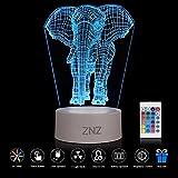 3D LED Lampe Nachtlicht - ZNZ 16 Farben USB betrieben Tisch Dimmbare Nachtlicht mit Touch-Schalter Fernbedienung für Kinder, 3D Lichter Optische Täuschungen Schreibtischlampe für Raum Dekor (Elefant) [Energieklasse A +]