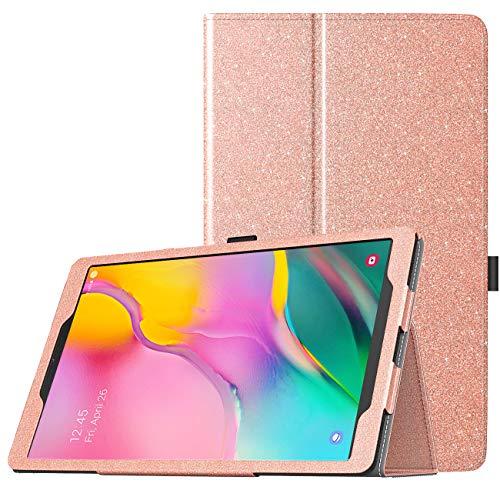 TiMOVO Hülle für Galaxy Tab A 10.1 2019 (T510/T515), Ständer Schutzhülle aus Kunstleder ohne Auto Schlaf/Aufwach Funktion Cover Stand,Not Fit Tab A 10.1 2016(T580/T585) - Rosa Glitter -