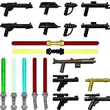 GALAXYARMS 29-teiliges Waffenset: Set 14.3 mit Blastern, Gewehren, Pistolen und Laserschwertern. Geeignet für Deine LEGO Minifiguren-Armee.