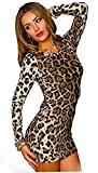 Damen Kleid Minikleid Mini Leopard Leo Animal Print M/L Langarm