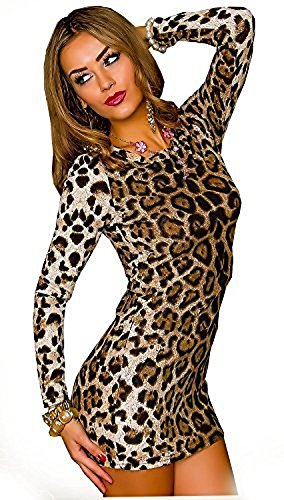 Animal Print Shirt Kleid (Damen Kleid Minikleid Mini Leopard Leo Animal Print M/L langarm)
