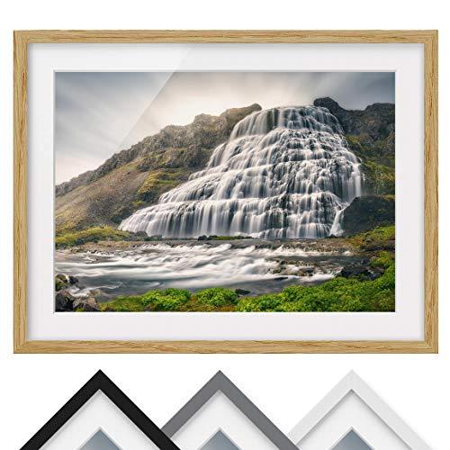 Bild mit Rahmen - Dynjandi Wasserfall - Rahmenfarbe Eiche, 30 x 40 cm -