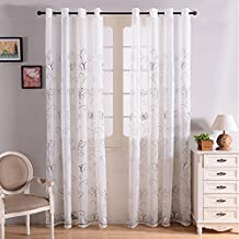 Top finel bordado mariposa gasa cortina de ventana SHEER paneles de cortina para salón, arandelas, solo panel, poliéster, White Butterfly, 140 x 245 cm