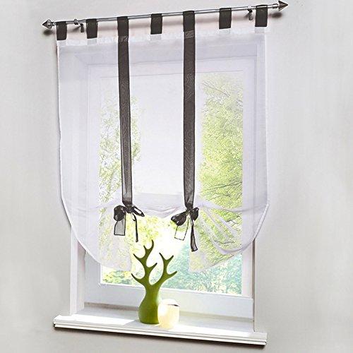 """LianLe Römischer Vorhang Raffrollo Sheer liftable Organza Bestickt Küche Vorhänge Fenster Vorhang, grau, 120 * 140cm/47.2\""""*55.1\"""""""