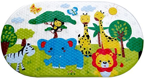 Salinka Jungle Anti Slip Baby Bath Mat - Phatalates and Lead FREE - Non Slip Mat for Bathtub and Shower - Durable Mildew Mold Resistant PVC - Many Strong Suction Cups - Handy Bag for Easy Transport - Free Ebook