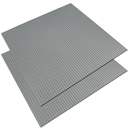 Katara 2er Set kompatible Bauplatte 40cm*40cm / 50×50 Noppen / Graue Grund-Platte zum Bauen / kompatibel zu Lego, Q-Bricks, Asmodee, Sluban, … für Straße, Rasen, Wasser, Boden,