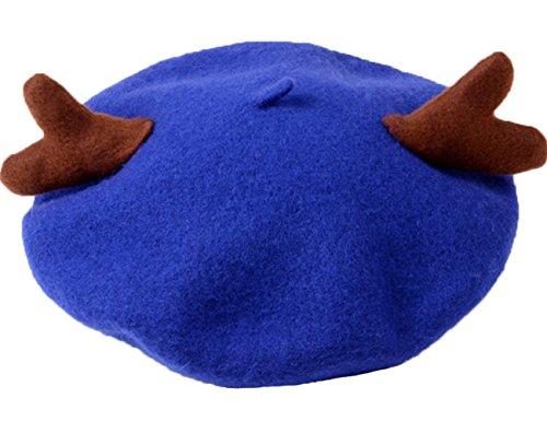 Horn Wolle Französisch Stil Baskenmütze Mütze Deckel Blau ()