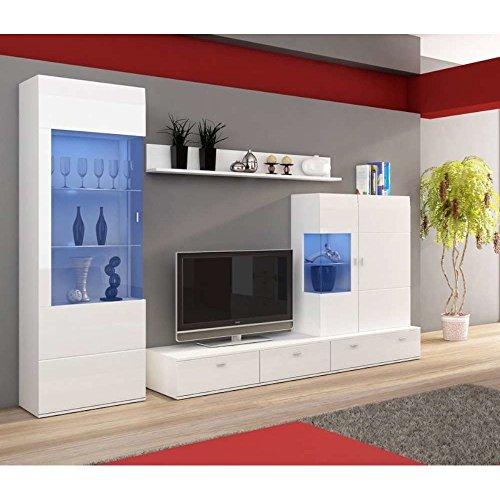 JUSThome FLOWER Wohnwand Anbauwand Schrankwand (HxBxT): 203x275x53 cm Weiß Matt / Weiß Hochglanz
