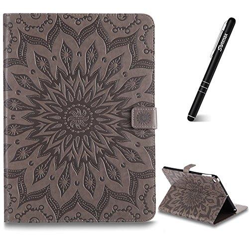iPad Air 2 Hülle,Slynmax Sonnenblume Flip Wallet Lederhülle PU Leder Wallet SlCover hülle Bumper Lederhülle Tablette Funktion Stand Unterstützte Tablette für iPad Air 2 Modell,Grau -