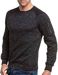 BLZ jeans - Sweat homme noir chiné street avec poche zippé