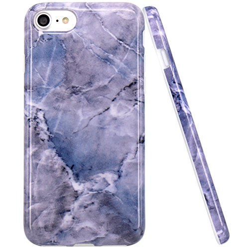 iPhone 7 Hülle, iPhone 8 Hülle, JIAXIUFEN Glänzend Rose Gold Gray Marmor Design Soft TPU Silikon Schutz Handy Hülle Handytasche HandyHülle Case Cover Schutzhülle für Apple iPhone 7 /iPhone 8 Blau Grau
