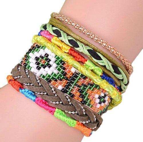 """ANDANTE - moda hippie, pulsera de estilo etno """"GRENADA"""", tamaño universal de acero noble con cierre automático (modelo 4017)"""