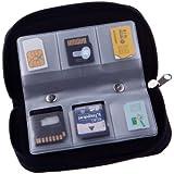Yinglite Lot de 2 Portable sd holder 22 Slots SD SDHC MMC CF Micro SD mémoire carte titulaire poche avec fermeture éclair stockage sac protecteur (2 Noir)