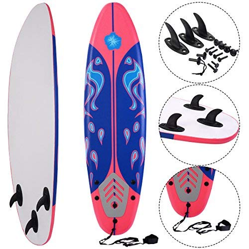 COSTWAY Surfbrett Surfboard Stand Up 6\' Funboard Shortboard Wellenreiter 182x 50x 8cm Farbwahl (Rot)