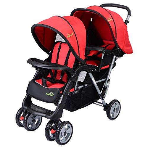 GOPLUS Geschwisterwagen Zwillingsbuggy Kinderbuggy Buggy doppel Kinderwagen Babybuggy Babywagen klappbar Sonnenschutz (rot)