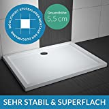 AQUABAD® Duschwanne Comfort Villa Flat 90x120cm Superflach Rechteck
