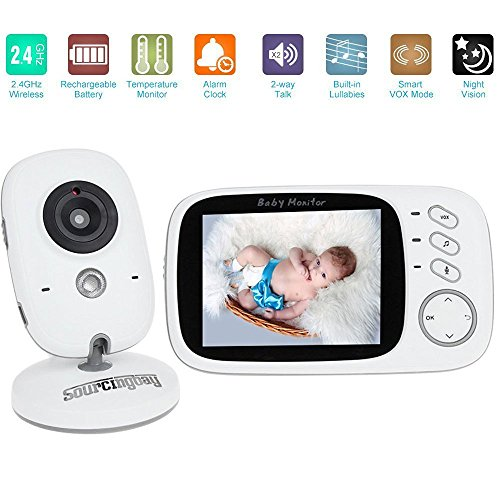 Baby Monitor, NEWEST Sourcingbay 3.2 Inch Wireless LCD Digital Video Audio Security Baby Camera Monitor with Night Vision, Two-way Talk, Alarm Sensor, Temperature Monitoring, Eight Soothing Lullabies 51hnu94J4TL