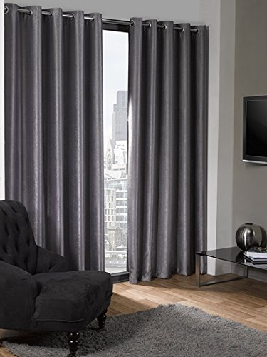 Luxury Logan Textured Silver Eyelet Ring Top Thermal Blackout Curtains (46″ Wide x 54″ Drop)