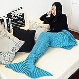 Cola de sirena manta, kvolity suave saco de dormir hecho a mano Crochet adulto sirena manta todo el año manta cálida sala de Kintting 71x 35en mejor regalo de Navidad