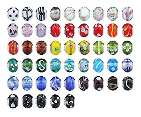 50pc Lot Silver Murano Lampwork Glass European Mix Beads - Compatible Fits European style bracelet