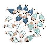 Logbuch-Verlag 2 x 18 Mini-Fische Streuteile Fische 6 cm blau türkis Natur Streuartikel Streudeko Maritime Deko Taufe Kommunion Tischdeko Holzfische klein