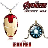 2 PC AVENGERS SET - IRONMAN FACE (RED/GOLD) PENDANT & ARC REACTOR BRASS TRENDY IMPORTED METAL PENDANT WITH CHAIN. LADY HAWK DESIGNER SERIES 2018. ❤ LATEST ARRIVALS - RINGS & T SHIRT - CAPTAIN AMERICA - AVENGERS - MARVEL - SHIELD - IRONMAN -