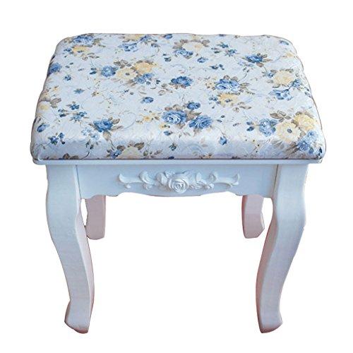 Pastorale maquillage tabouret chaise tissu petit carré blanc commode tabouret solide bois chaussure tabouret haut 43cm, coussin largeur 28cm, longueur 38cm ( Design : B )