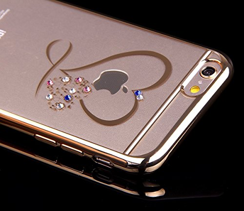 Bling Bling Coque pour iPhone 7 Plus,Silicone Coque pour iPhone 7 Plus,Transparente Coque pour iPhone 7 Plus,iPhone 7 Plus Coque Bling Diamant Cœur Etui Housse,EMAXELERS iPhone 7 Plus 5.5 Pouce Crista TPU 11