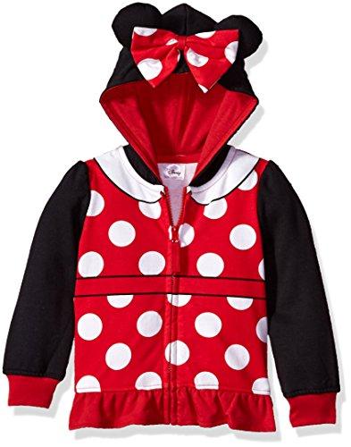 Disney Toddler Girls' Minnie Mouse Costume Zip-up Hoodie, Black/Red, 5T (Zip-up Disney Hoodie)