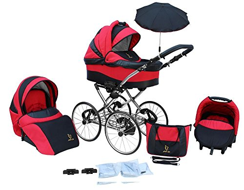 *Kinderwagen AmberLine Classica Retro_RED, 3 in 1- Set Wanne Buggy Babyschale*