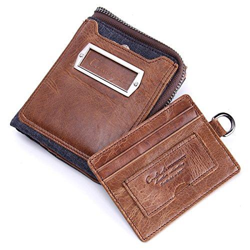 Contacts Mens echtes Leder Bifold Brieftasche doppelte Reißverschluss-Taschen-Mappen-Münzen-Geldbeutel Braun Brown1
