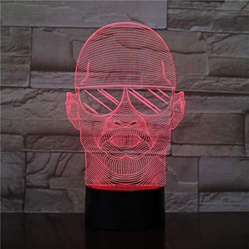 Aoyuhf Ein Mann In Sonnenbrille 3D Illusion Nachtlicht Tisch Schreibtisch Schlafzimmer Nachttischlampe Dekoration Usb 7 Farbwechsel Stimmung Lampe