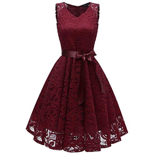 Damen Vintage Prinzessin Blumen Spitzekleid,TWIFER Cocktail V-Ausschnitt Party A-line Swing Kleid Abendkleider Hochzeitskleid (S, - Teenager Mädchen Prinzessin Kostüm