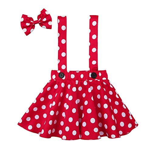 Alvivi Falda de Correa Tutu Vestido Peto Princesa Halloween Navidad Traje Elegante Bautizo Niña Bebe Vestido Lunares+Diadema Lindo Rojo 4-5 años