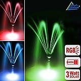 SOLARTEICHPUMPE SOLAR SPRINGBRUNNEN SOLARPUMPE GARTENBRUNNEN OSLO 300 (Rot, grün, blau) Licht + Remote Solar Teichpumpen Set 3 Watt mit FERNBEDIENUNG, max. 300L/h, WASSERSPIEL SOLAR Springbrunnen mit STABILEM ALU-RAHMEN, Akku-Betrieb, Licht, Timer und Memory-Funktion f. GARTEN TEICH 2-6qm!