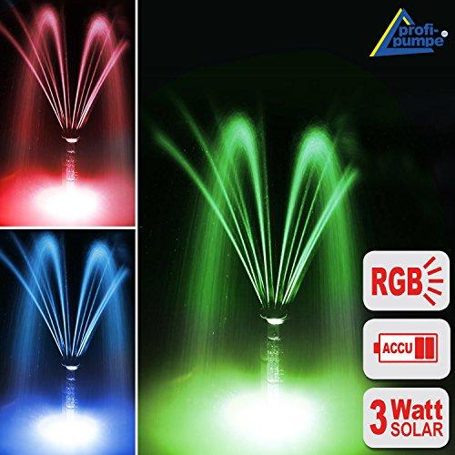 Akku-wasser-brunnen (SOLARTEICHPUMPE SOLAR SPRINGBRUNNEN SOLARPUMPE GARTENBRUNNEN OSLO 300 (Rot, grün, blau) Licht + Remote Solar Teichpumpen Set 3 Watt mit FERNBEDIENUNG, max. 300L/h, WASSERSPIEL SOLAR Springbrunnen mit STABILEM ALU-RAHMEN, Akku-Betrieb, Licht, Timer und Memory-Funktion f. GARTEN TEICH 2-6qm!)
