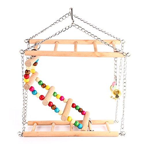 Tiere Hängekörbe in Leiter Holz Abschottung, Treppen, Vögel DOUBLES Papagei Spielzeug Hamster Papageien in Käfig Papagei Spielzeug Hängematte