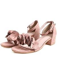 Angrousobiu Dulce rocío satinado grueso con sandalias alumnas en el verano y,38, zapatos negros.