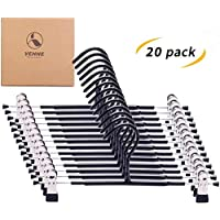 VEHHE Trouser Hangers Skirt Hangers with Adjustable Clips 20 Pack Clothes Hangers Pants Jeans Clamp Hangers Non Slip Rubber Coating Space Saving for Clothes Shoes Slacks Ties Hats Kids