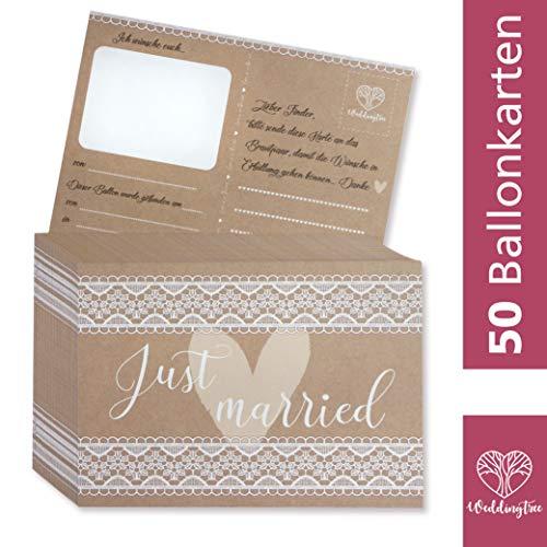 WeddingTree 50 Ballonkarten Hochzeit Vintage - Vintage Hochzeit Design - Ballonflugkarten für Hochzeit - Extra leicht für langen Flug - Gelocht