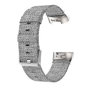 Wawer Fitbit Charge 3 Armband Gesponnener Segeltuch Gewebe Uhrenarmband Ersatz Bügel für Fitbit Gebühr 3