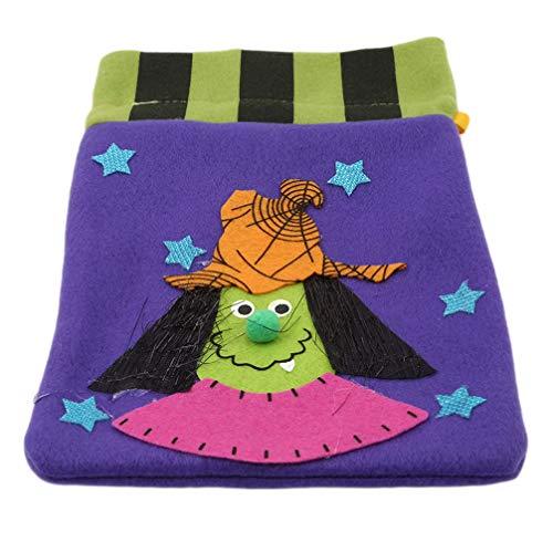 Toporchid Halloween Süßigkeitstaschen Kordelzug Kids Trick Treat Taschen (Hexe)