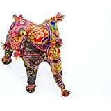 Sangeeta Collection Ethnic Indian Traditional Rajasthani Elephant Stuffed Toy Use For Home Office Decor (Large, 9 Inch)