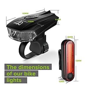 Bike Lights, Degbit® USB Rechargeable Bike Light Set, Mountain Bike Light, Cycle Lights, LED Bicycle Lights Rechargeable, Quick Release, USB rechargeable front light and tail light