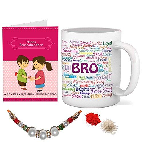 Sky Trends Combo of Printed Ceramic Coffee Mug, Rakhi, Roli, Chawal and Greeting Card (St-12)