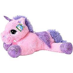 te-trend Caballo de peluche unicornio unicornio tendida 60cm fucsia o blanco con púrpura aplicaciones y ala - fucsia
