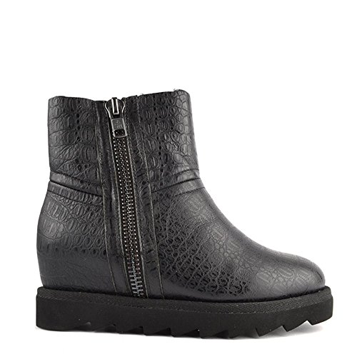 Ash Footwear Yang Black Croco Shearling Wedge Ankle Boot 39EU/6UK Black